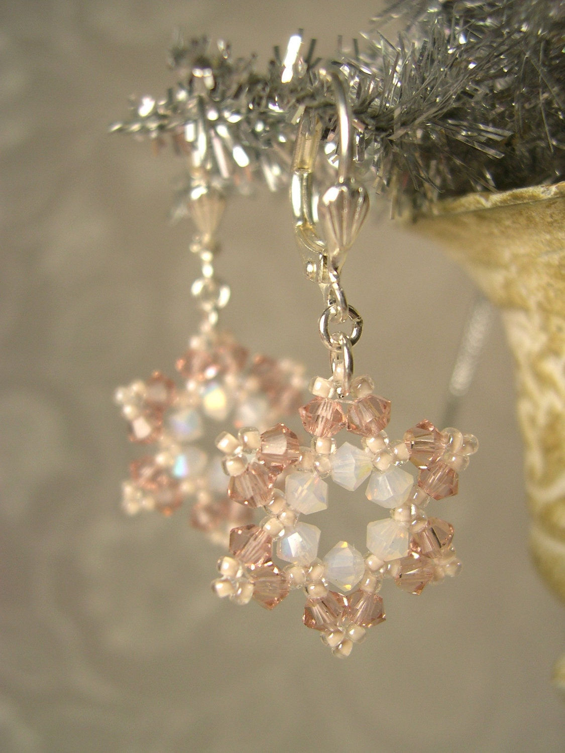 swarovski snowflake earrings swarovski snowflake earrings pale pink white bead weaving 313