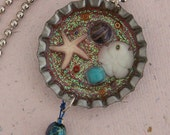 Sealife Reversible Vintage Bottle Cap Pendant