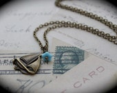Sail Away Necklace with Light Blue Glass Flower and Sailboat Charm
