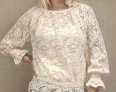 Vintage Elegant Sheer Ivory Fitted-Waist Lace Peasant Blouse
