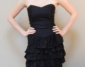 30% OFF Vintage 80s Black Mini Party Prom Dress