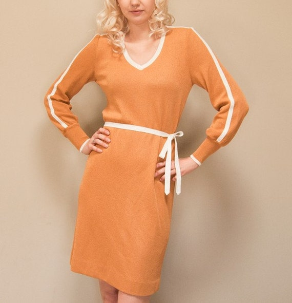 Vintage 70s Stretchy Knit Marigold V Neck Dress with Long Sleeves