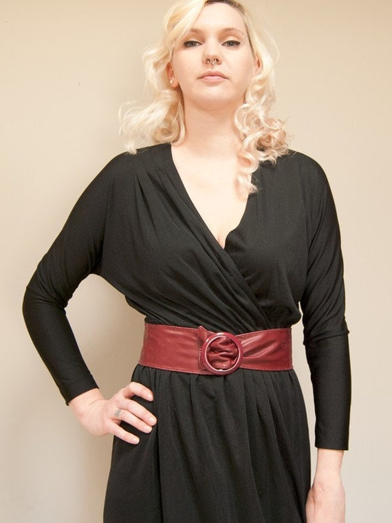 Vintage 70s to 80s Black Wrap Dress with Long Sleeves