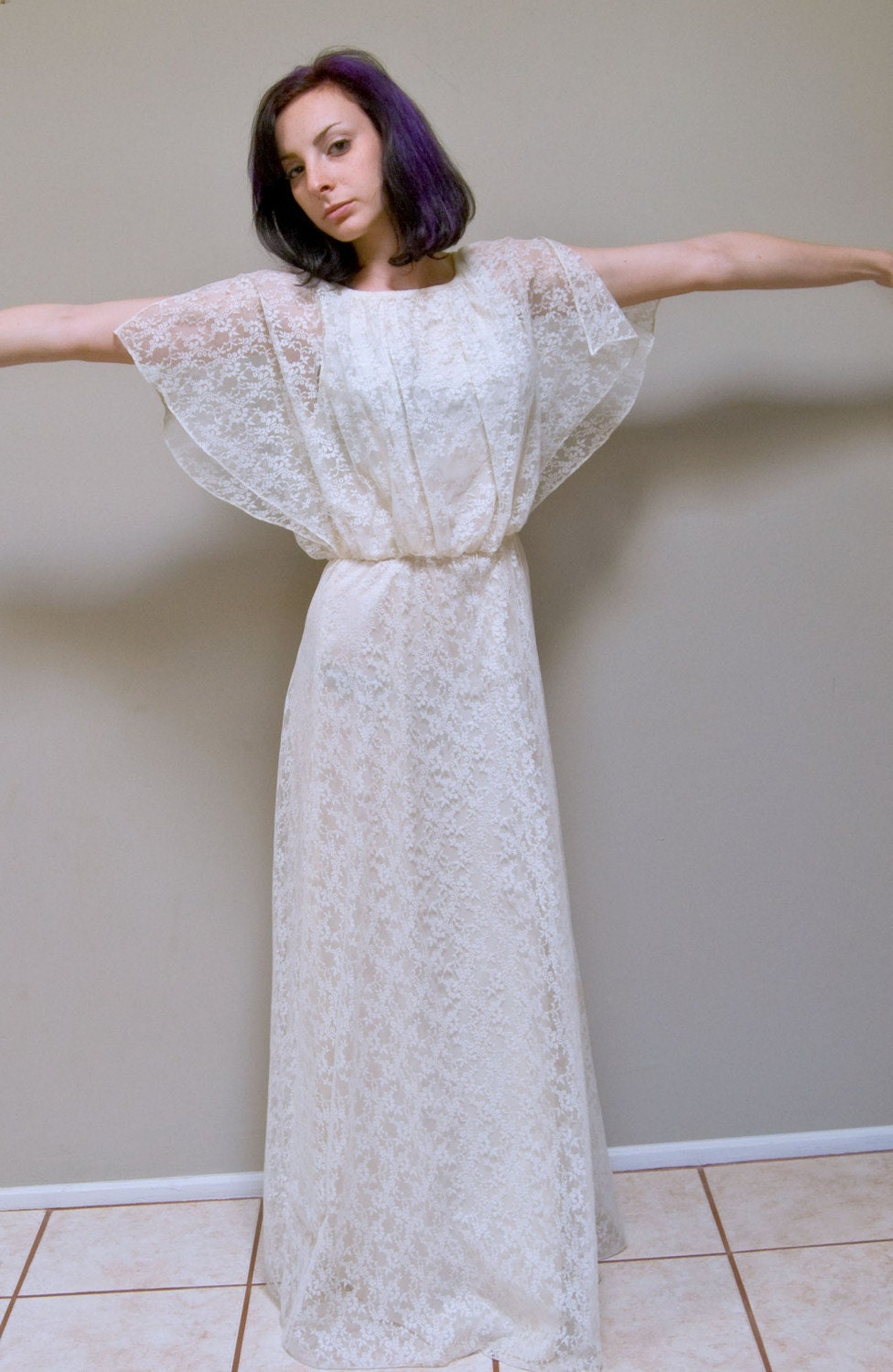 Vintage 70s sweet and simple flutter sleeve wedding dress for Flutter sleeve wedding dress