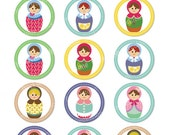 Digital 2 Inch Circle Collage Sheet - Matryoshka Dollies