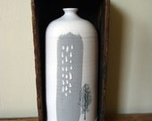 RESERVED. Feather &, Birch porcelain Bottle w/ wooden box