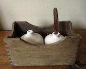 Two porcelain EGG Bottles on a Wooden Box NEST