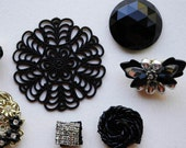 Black and White Jewelry Bits and Pieces for Altered Art