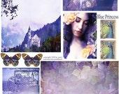 Blue Princess Card Collage Sheet
