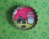 Milk and Cookies Magnet - Miniature Art in a Bottle Cap