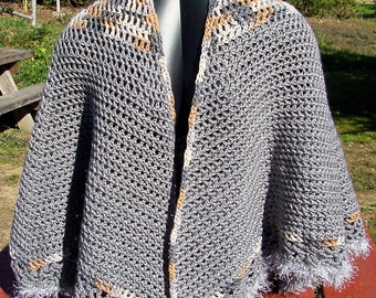 Cape Silver and Tan Tweed - Handmade Crochet - Winter Accessory