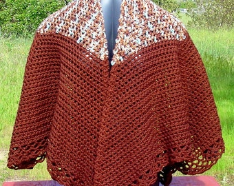 Cape Brown - Handmade Crochet - Winter Fall Accessory
