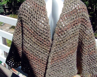 CapeTan and Green - Handmade Crochet - Fall Winter Accessory - Shawl