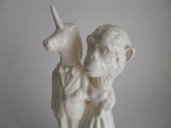 Unicorn and Chimp Wedding cake topper