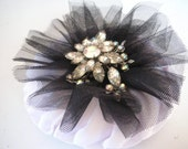 White and Black Rosette Brooch