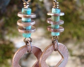 Washers and Turquoise in Copper - Earrings