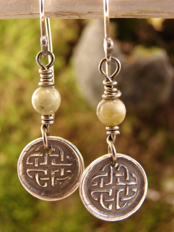 Celtic Knots with Connemara Marble in Fine Silver - Earrings