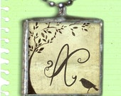 Bird and Tree - Personalized  Initial Pendant - Dickinson quote on back