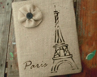 Eiffel Tower -  Burlap Feed Sack Journal Cover w. Notebook