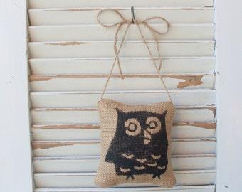 Owl -  Burlap Feed Sack Pillow Door Hanger