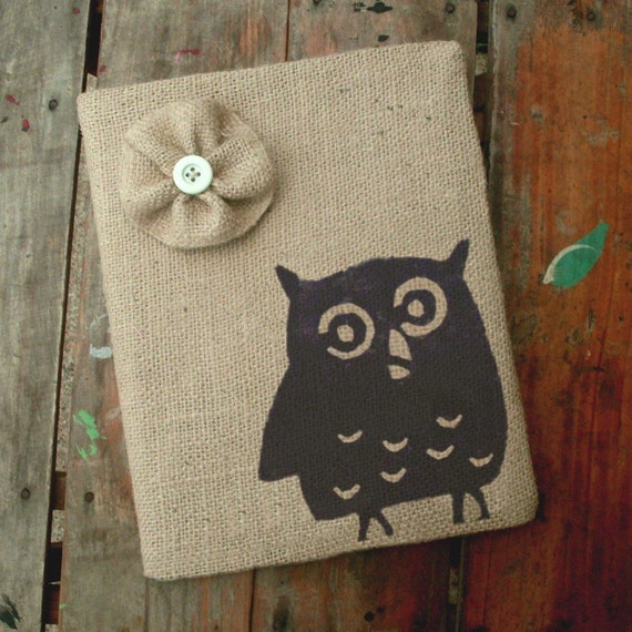 Owl -  Burlap Feed Sack Journal Cover w. Notebook
