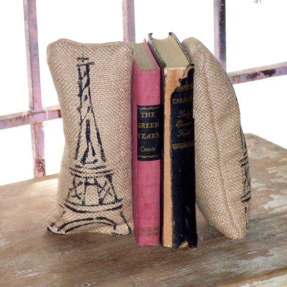 Eiffel Tower- Petit Feed Sack Pillow Pair - Unique paper weight, bookends, pin cushion, etc