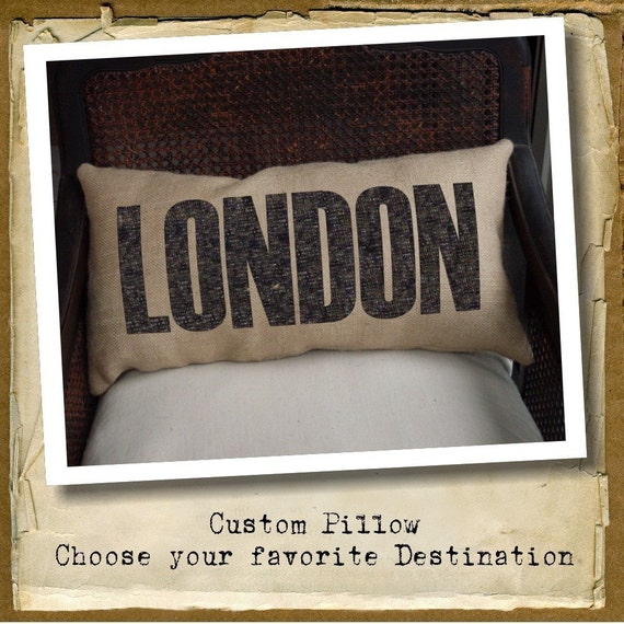 choose your Destination  - Burlap Pillow - Customize with your favorite city, country, street address, place etc...