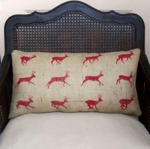 Бегущих оленей Zoopraxography исследования - Burlap Подушка - Deer Pilllow в поясничной стиль