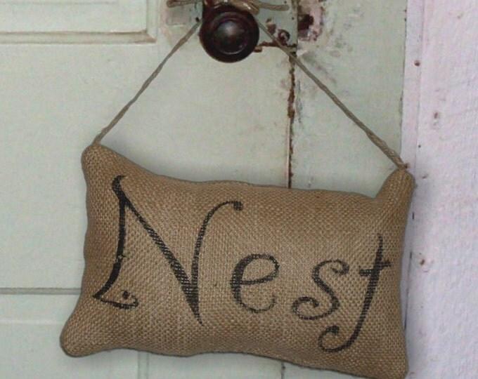 Nest - Burlap Feed Sack Pillow Door  Hanger