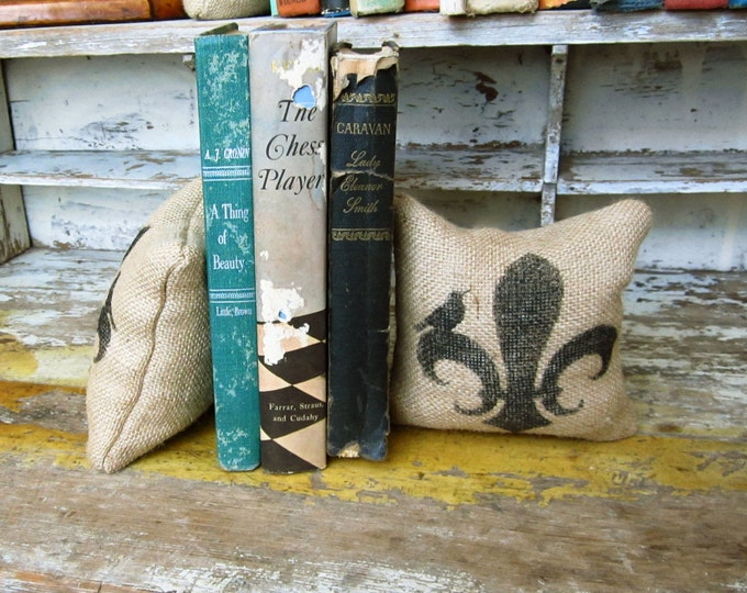 Fleur de lis with Bird- Petit Feed Sack Pillow Pair - Unique paper weight, bookends, pin cushion, etc