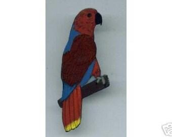 ECLECTUS PARROT BIRD EARRINGS AND PIN SET