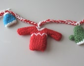 Winter Wear Garland, Crocheted, miniature