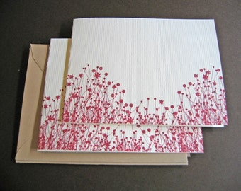 Red Flowers - set of 6 handmade cards