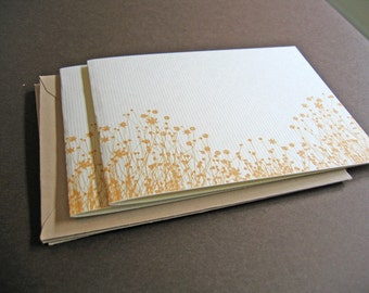 Golden Yellow Flowers - set of 6 handmade cards