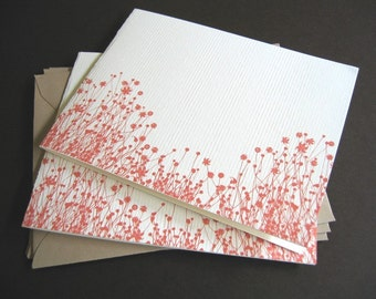Burnt Orange Flowers - Set of 6 handmade cards