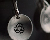 Handmade Recycle Earrings  - Sterling Silver Discs with a Matte Finish - Made to Order