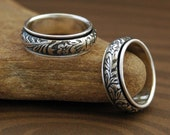 Handmade Floral Spinner Ring in Sterling Silver - Free Shipping in the U.S.