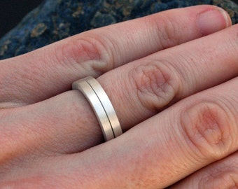Matte Stackable Ring Bands in Sustainable Sterling Silver - Made upon Order in a Square profile