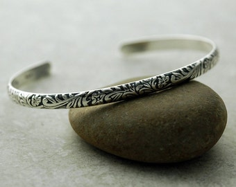 Cuff Bracelet - Floral and Scroll in Sustainable Silver - Ready to Ship