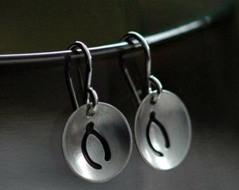 Handmade Wishbone Earrings  - Sterling Silver Discs with a Matte Finish - Made to Order
