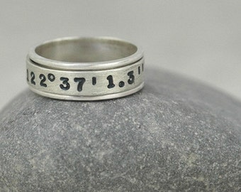 You Are Here - Stamped Latitude and Longitude Spinner Ring in Sterling Silver