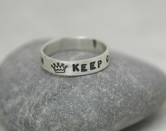 Keep Calm and Carry On - Handmade Ring - Sterling Silver Band Stamped with Block Uppercase Font - Made to Order