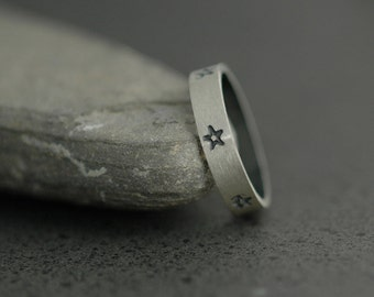 Handmade Star Ring - Custom Sterling Silver Stamped Band - Made to Order in Your Size