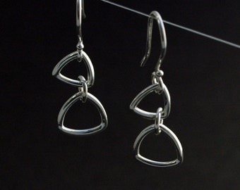 Triangle Link Earrings in Sterling Silver - Ready to Ship