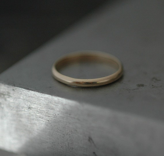 14k Yellow Gold Ring -  Classic Thin Band - Handmade from Sustainable Metal = No Dirty Gold!