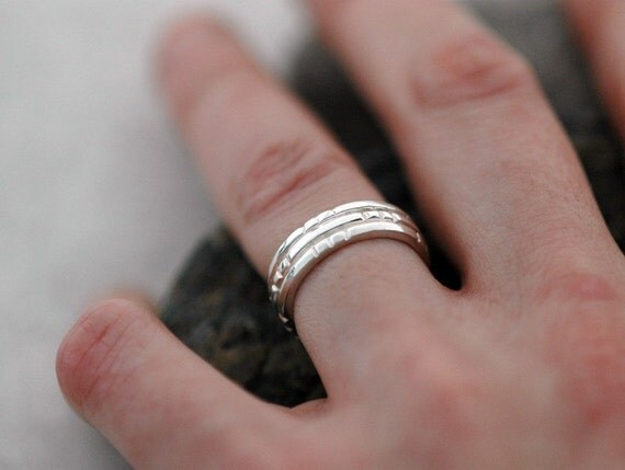 Notched Band - A  Ring for Men and Women in Sterling Silver
