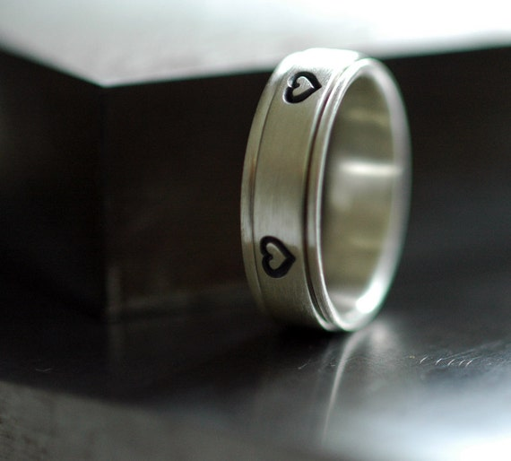 Hearts - Spinner Ring in Sterling Silver - Handmade to Order