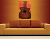While My Guitar Gently Weeps -Orange, Brown, Yellow and Red- 24 X 36  Acrylic Painting on Canvas