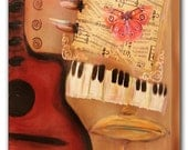 """24"""" X 30"""" Original Acrylic on Canvas Painting """"Red Guitar and the Red Butterfly"""" with Sheet Music in Rich Colors of Red and Brown"""
