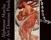 "Alphonse Mucha ""Dance"" Art Nouveau - Wearable Altered Art Pendant on Ivory Colored Domino"